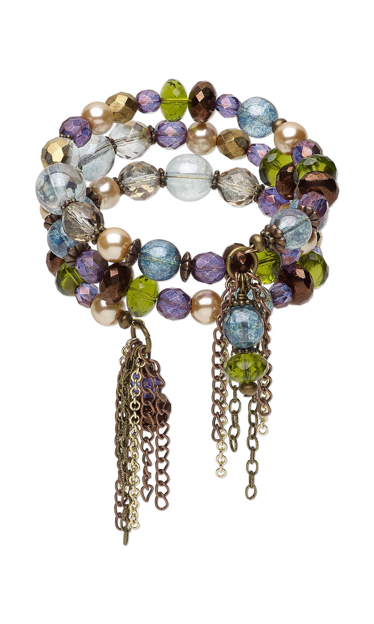 Jewelry Design Memory Wire Bracelet With Czech Glass