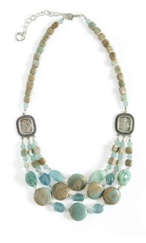 jewelry design triple strand necklace with aquamarine