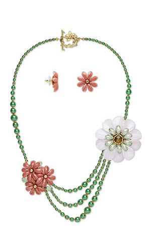 Jewelry Design - Triple-Strand Necklace and Earring Set with Czech Glass Beads, Preciosa Pellet Czech Glass Beads and Seed Beads