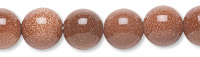 Bead, brown goldstone (manmade), 8mm round. Sold per pkg of (10) 16-inch strands.
