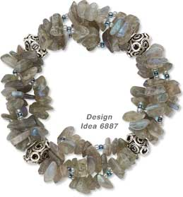Triple-Strand Bracelet with Labradorite Chips and Sterling Silver Beads