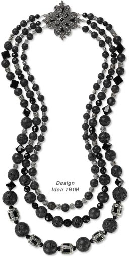 TTriple-Strand Necklace with Marcasite and Sterling Silver Beads, Lava Rock and Black Onyx Gemstone Beads