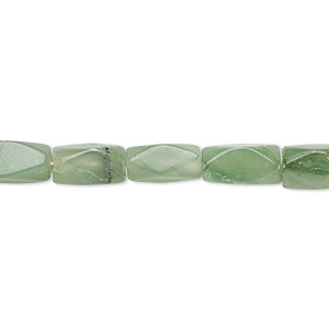 Bead, African aventurine (natural), 7x4mm-13x6mm hand-cut faceted square tube, B- grade, Mohs hardness 7. Sold per 13-inch strand.
