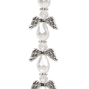 "Bead, Celestial Crystal® and antique silver-plated ""pewter"" (zinc-based alloy), clear AB, 17x14mm angel with 0.8-1.5mm hole. Sold per pkg of 6."