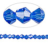 Bead, Celestial Crystal®, glass, 16-facet, medium blue, 4mm faceted bicone. Sold per 16-inch strand.