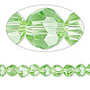 Bead, Celestial Crystal®, glass, 32-facet, lime green, 6mm faceted round. Sold per 16-inch strand.