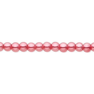 Bead, Celestial Crystal®, glass pearl, bright pink, 4mm round. Sold per pkg of (2) 16-inch strands.