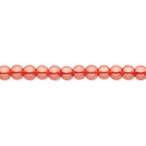 Bead, Celestial Crystal®, glass pearl, orange-red, 4mm round. Sold per pkg of (2) 16-inch strands.