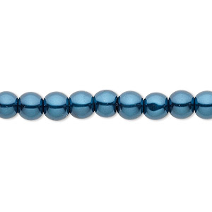 Bead, Celestial Crystal®, glass pearl, teal, 6mm round. Sold per pkg of (2) 16-inch strands.