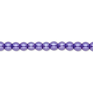 Bead, Celestial Crystal®, glass pearl, violet, 4mm round. Sold per pkg of (2) 16-inch strands.