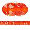 Bead, Czech fire-polished glass, orange-red, 6x3mm faceted rondelle. Sold per pkg of 1,200 (1 mass).