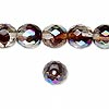 Bead, Czech fire-polished glass, two-tone, crystal / brown-red AB, 10mm faceted round. Sold per pkg of 1/2 mass.