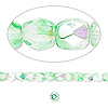 Bead, Czech fire-polished glass, two-tone, crystal/green AB, 4mm faceted round. Sold per 16-inch strand.