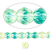 Bead, Czech fire-polished glass, yellow and blue, 6mm faceted round. Sold per pkg of 1,200 (1 mass).