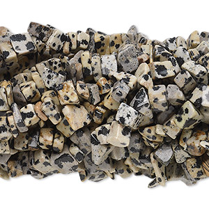 Bead, Dalmatian jasper (natural), medium chip with 0.5-1.5mm hole, Mohs hardness 6-1/2 to 7. Sold per pkg of (10) 34-inch strands.