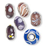 Bead, Dione™, lampworked glass and imitation rhodium-finished brass grommets, transparent purple and opaque multicolored, 12x8mm-16x9mm rondelle with assorted designs, 4.5-5mm hole. Sold per pkg of 6.