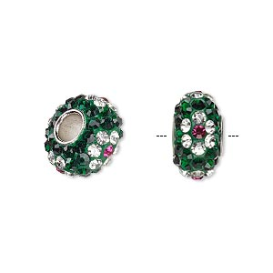 Bead, Dione®, Czech glass rhinestone / epoxy / imitation rhodium-plated brass grommet, green / clear / pink, 13x8mm-14x8mm rondelle with flower design, 4.5mm hole. Sold individually.