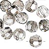 Bead, German crystal, clear with satin finish, 12mm faceted round. Sold per pkg of 6.