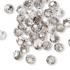 Bead, German crystal, clear with satin finish, 6mm faceted round. Sold per pkg of 42.