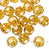 Bead, German crystal, topaz yellow, 10mm faceted round. Sold per pkg of 176.