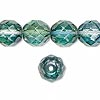 Bead, Preciosa Czech fire-polished glass, green/teal, 12mm faceted round. Sold per pkg of 600 (1/2 mass).