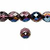 Bead, Preciosa Czech fire-polished glass, lilac with blue iris finish, 10mm faceted round. Sold per pkg of 600 (1/2 mass).