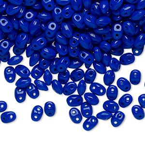 Bead, Preciosa Twin™ Pressed Twin, Czech pressed glass, cobalt, 5x2.5mm oval with 2 holes. Sold per 10-gram pkg.