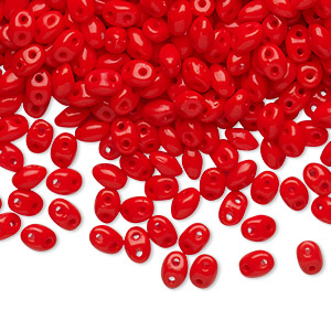 Bead, Preciosa Twin™ Pressed Twin, Czech pressed glass, orange-red, 5x2.5mm oval with 2 holes. Sold per 10-gram pkg.