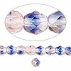 Bead, Preciosa® Czech fire-polished glass, two-tone, blue/pink, 6mm faceted round. Sold per pkg of 1,200 (1 mass).