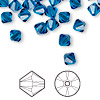 Bead, Swarovski crystal, Capri blue, 6mm Xilion bicone (5328). Sold per pkg of 360.