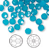 Bead, Swarovski crystal, Caribbean blue opal, 6mm faceted round (5000). Sold per pkg of 360.