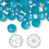 Bead, Swarovski crystal, Caribbean blue opal, 8mm faceted round (5000). Sold per pkg of 288 (2 gross).