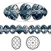 Bead, Swarovski crystal, Crystal Blend Colors, Crystal Passions®, crystal clear and Montana, 8x6mm faceted rondelle (5040). Sold per pkg 12.
