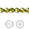 Bead, Swarovski crystal, Crystal Blend Colors, Crystal Passions®, fern green and topaz, 8mm faceted round (5000). Sold per pkg 12.