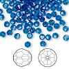 Bead, Swarovski crystal, Crystal Passions®, Capri blue, 4mm faceted round (5000). Sold per pkg of 144 (1 gross).