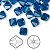Bead, Swarovski crystal, Crystal Passions®, Capri blue, 8mm Xilion bicone (5328). Sold per pkg of 12.