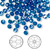 Bead, Swarovski crystal, Crystal Passions®, Capri blue AB, 4mm faceted round (5000). Sold per pkg of 144 (1 gross).