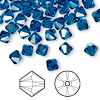 Bead, Swarovski crystal, Crystal Passions®, Capri blue AB, 6mm Xilion bicone (5328). Sold per pkg of 144 (1 gross).
