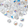 Bead, Swarovski crystal, Crystal Passions®, Frost, 6mm Xilion bicone (5328). Sold per pkg of 144 (1 gross).