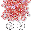 Bead, Swarovski crystal, Crystal Passions®, Indian pink AB, 4mm Xilion bicone (5328). Sold per pkg of 144 (1 gross).