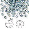 Bead, Swarovski crystal, Crystal Passions®, Indian sapphire AB, 4mm faceted round (5000). Sold per pkg of 144 (1 gross).