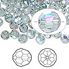 Bead, Swarovski crystal, Crystal Passions®, Indian sapphire AB, 6mm faceted round (5000). Sold per pkg of 144 (1 gross).