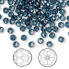 Bead, Swarovski crystal, Crystal Passions®, Montana, 4mm faceted round (5000). Sold per pkg of 144 (1 gross).