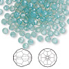 Bead, Swarovski crystal, Crystal Passions®, Pacific opal, 4mm faceted round (5000). Sold per pkg of 144 (1 gross).
