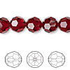 Bead, Swarovski crystal, Crystal Passions®, Siam, 10mm faceted round (5000). Sold per pkg of 2.