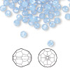 Bead, Swarovski crystal, Crystal Passions®, air blue opal, 4mm faceted round (5000). Sold per pkg of 144 (1 gross).