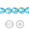 Bead, Swarovski crystal, Crystal Passions®, aquamarine, 10mm faceted round (5000). Sold per pkg of 24.