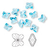 Bead, Swarovski crystal, Crystal Passions®, aquamarine, 10x9mm faceted butterfly (5754). Sold per pkg of 12.