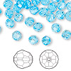 Bead, Swarovski crystal, Crystal Passions®, aquamarine, 6mm faceted round (5000). Sold per pkg of 144 (1 gross).