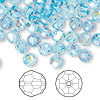 Bead, Swarovski crystal, Crystal Passions®, aquamarine AB, 6mm faceted round (5000). Sold per pkg of 144 (1 gross).